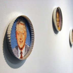 """The Great American Bake-Off"", Embroidery floss and bake ware, 2008."